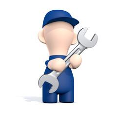 Freundlicher Handwerker mit Schraubenschlüssel