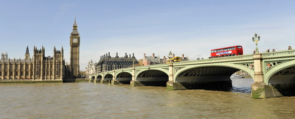 Foto auf Leinwand London roten bus Westminster Bridge and the Houses of Parliament
