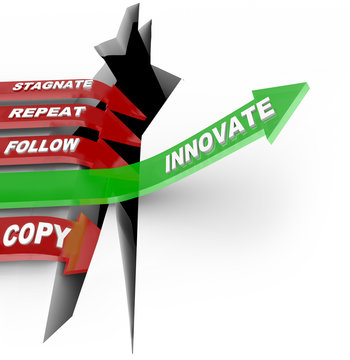 Innovation and Change Beats Stagnation Arrow Jumping Hole