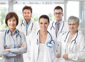 Group of doctors in hospital corridor
