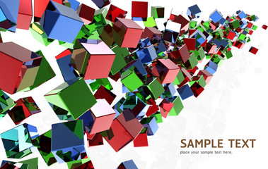 Abstract Crystal cubes background design with clipping path.