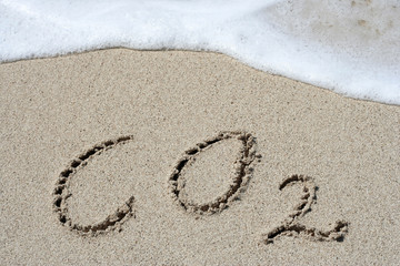 CO2 handwritten in sand on a beach