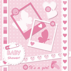 Baby girl greeting card with photo frame