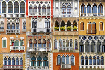 Fototapete - Collage of the ancient unique Venetian balconies.