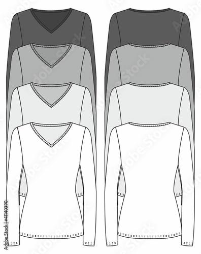 long-sleeved V-neck T-shirt design template (front & back)\