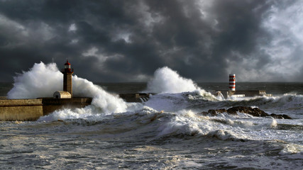 Stormy sunset in Douro Harbor Wall mural