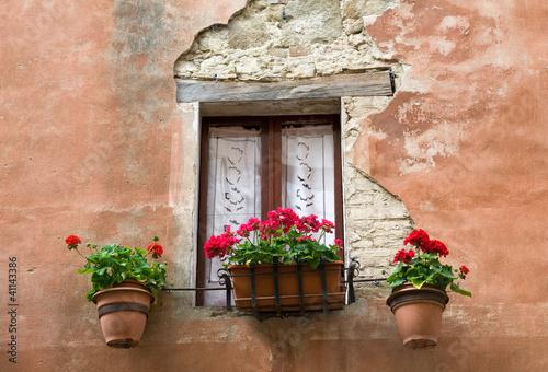 Finestra con tende e fiori immagini e fotografie royalty for Finestra con fiori disegno