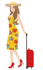 スーツケースをもつ女性