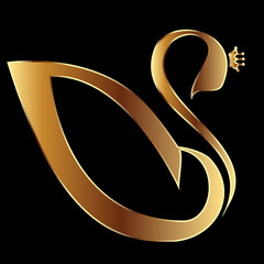 Gold Swan with crown vector stock
