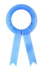 blue ribbon award isolated on white background