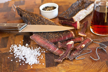 The culinary tradition of making South African biltong