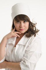 portrait of the nurse in a white dressing gown