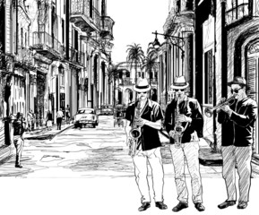 Printed roller blinds Music Band jazz band in cuba