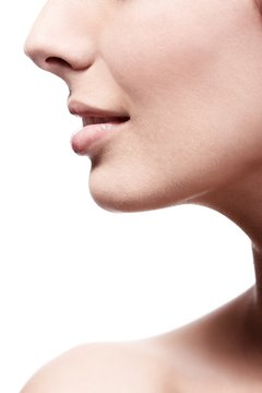 Closeup profile of female's nose and lips