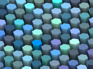 abstract 3d render hexagon backdrop in blue purple colors