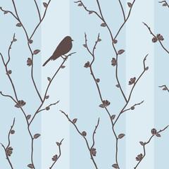 Vector seamless pattern with bird on sakura