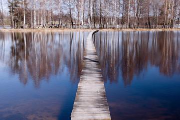 Lake and wooden footbridge