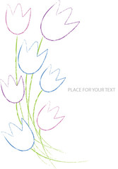 vector illustration with tulip flowers and place for your text