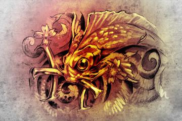 Fototapete - Tattoo art, sketch of a fish, Tattoo art, sketch of a fish, pisc