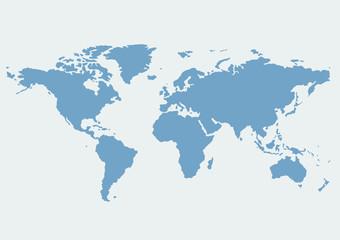 Poster Carte du monde blaue weltkarte