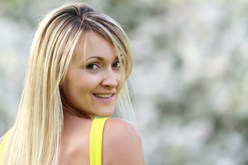 happy young attractive woman outdoors