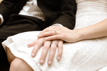 Newly Weds Hands displaying Wedding Rings