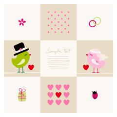 Wedding Card Cute Birds Green/Pink