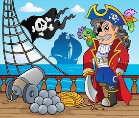 Foto op Plexiglas Piraten Pirate ship deck theme 3