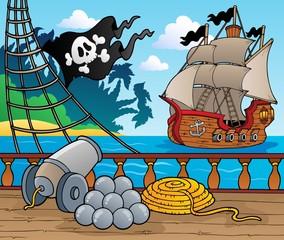 Foto op Plexiglas Piraten Pirate ship deck theme 4