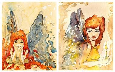 dwa obrazki aniołów