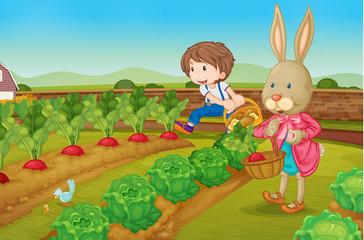 Deurstickers Boerderij Bunny and boy in the garden