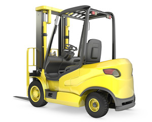 Yellow fork lift truck, rear view