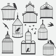 Recess Fitting Birds in cages Bird cages silhouette, vector illustration