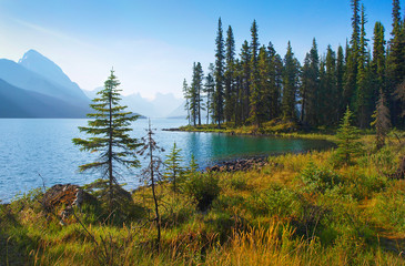 Poster Canada Nature landscape with mountain lake at dawn in Alberta, Canada