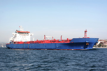 Blue tanker ship
