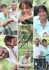 Collage of a couple with their bicycles