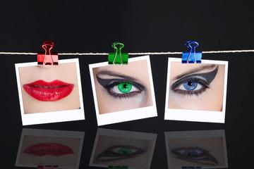 Rahmen mit RGB Bilder, Mund und Augen in Farbe