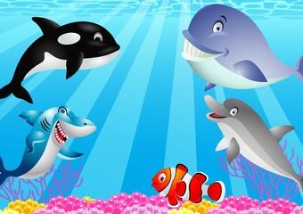 Funny sea life cartoon