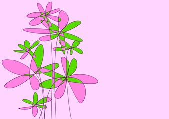 expressive flowers isolated on pink