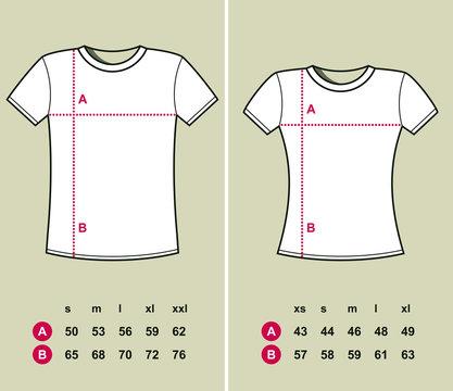 T-Shirt Sizes (men and women)