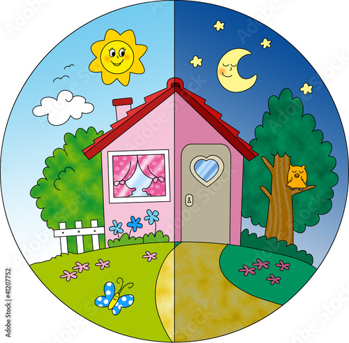 Casa di campagna giorno e notte illustrazione per for Scarica clipart