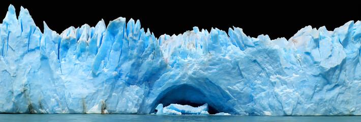 Aluminium Prints Antarctic Icebergs isolated on black