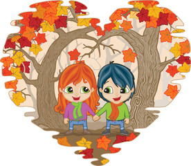 Boy and Girl holding hands in Autumn woods in heart shame