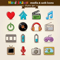 Hand Drawn Media And Entertainment Web Icons
