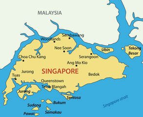Republic of Singapore - vector map