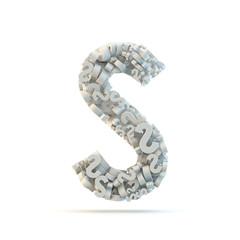White uppercase letter S isolated on white.