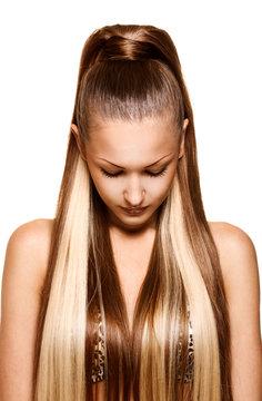 woman with elegant long shiny hair