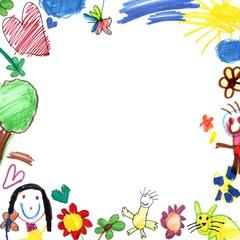 child drawing frame white