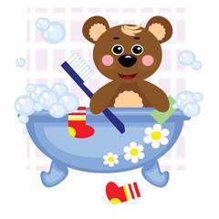 Hares showering in bath