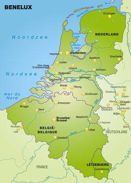 Übersichtskarte der Beneluxländer mit Nachbarländern